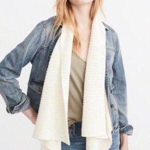 A&F Denim Jacket Draped Sweater Shawl Collar Jean